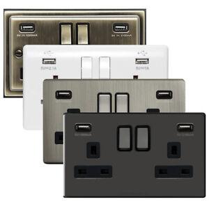 Pack de 3-Double Prise Murale Prise 2 Gang 13 A avec 2 USB Chargeur Port magasins
