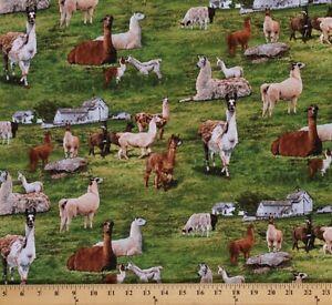 Elizabeth-039-s-Studio-Farm-Animals-Green-llamas-100-cotton-Fabric-by-the-yard