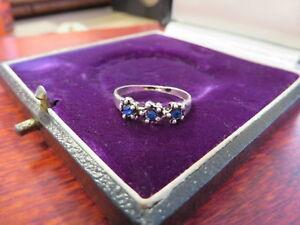 925-Sterling-Silber-Ring-Schmal-Dreisteiner-Blau-Kugeln-Interessant-Maedchenhaft