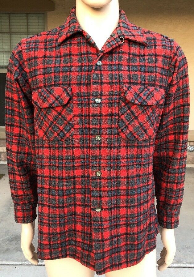 Vintage Pendleton Plaid Tartan Shirt 100% Virgin Wool USA Made Size Large