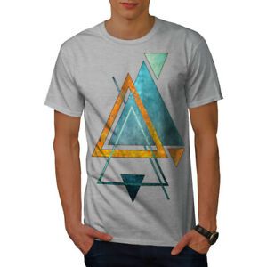 Wellcoda-Abstract-Triangle-T-shirt-homme-forme-design-graphique-imprime-Tee