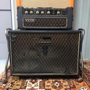 Vintage-1967-Vox-Defiant-Head-amp-2x12-Cabinet-Amplifier-w-Pedal-amp-Celestion-G12