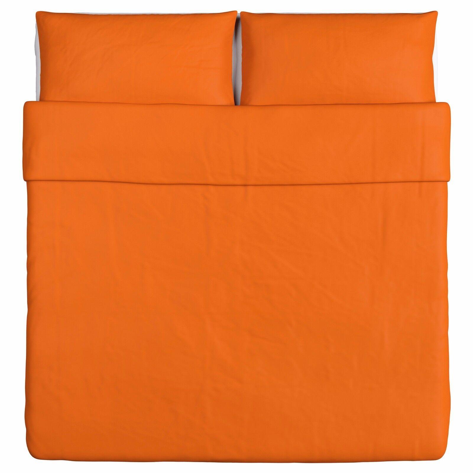 New IKEA DVALA King Duvet Cover And 2 Pillowcase Set, arancia 100% Cotton