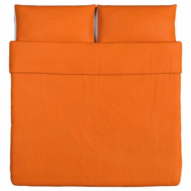 New IKEA DVALA King Duvet Cover And 2 Pillowcase Set ORANGE 100/% Cotton