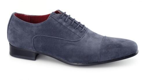 Shuperb Mario Homme en Daim Synthétique Smart Rétro Vintage Fashion Chaussures Oxford Bleu