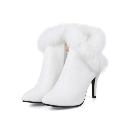 Stiefeletten Damen Schuhe Spitz Hoher Absatz Reißverschluß Hochzeit Stiefel
