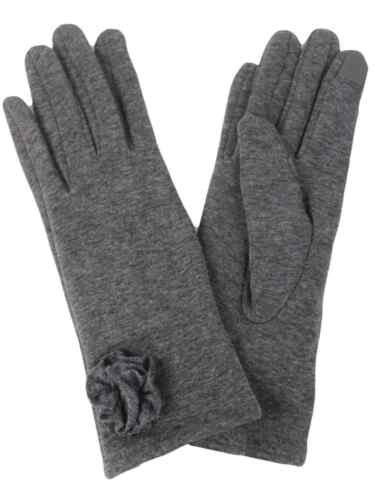 David /& Young Womens Gray Rosette Stretch Fit Texting /& Tech Gloves Grey