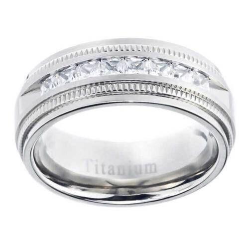 8mm Titanium Band Princess Cut Cubic Zirconia Men/'s Wedding Solitaire