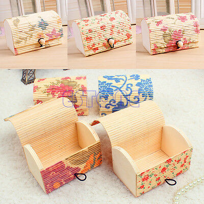 1x Charm Ring/Necklace/Earrings Flower Bamboo Wooden Case Jewelry Storage Box