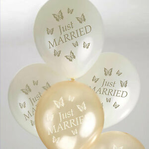 8 just married wedding balloons ivory gold elegant butterfly helium image is loading 8 just married wedding balloons ivory gold elegant junglespirit Gallery