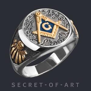 Freimaurer Ring Silber 925 Klassisch Master Mason Alles sehenedes Auge Masonic
