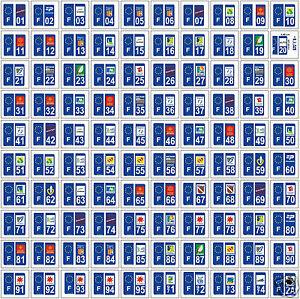 50 stickers autocollant plaque d 39 immatriculation d partements au choix ebay. Black Bedroom Furniture Sets. Home Design Ideas