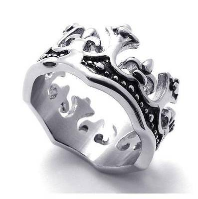 Men's Biker Black Silver Stainless Steel Imperial Crown Ring Size US8-13 GiftNew