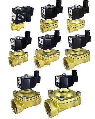 2-Way Brass Solenoid Valve NBR Seals DIN Gas Air Water Oil Electric Pneumatic