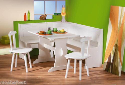 ECKBANKGRUPPE  Massivholz weiß lackiert, 1 x Tisch, 1 x Eckbank und 2 Stühle NEU
