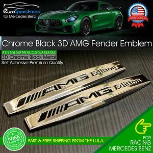 AMG Edition Chrome Emblem Metal Side Fender Skirts 3D Badge for Mercedes Benz 2X