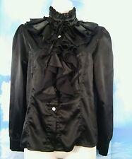 Womens L Victorian Black Ruffle Long Sleeve High Collar Blouse Gothic Top