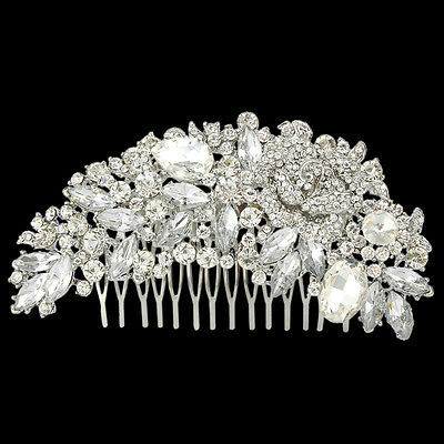 Large Wedding Right Side Rose Flower Clear Austrian Crystal Hair Comb Piece E600