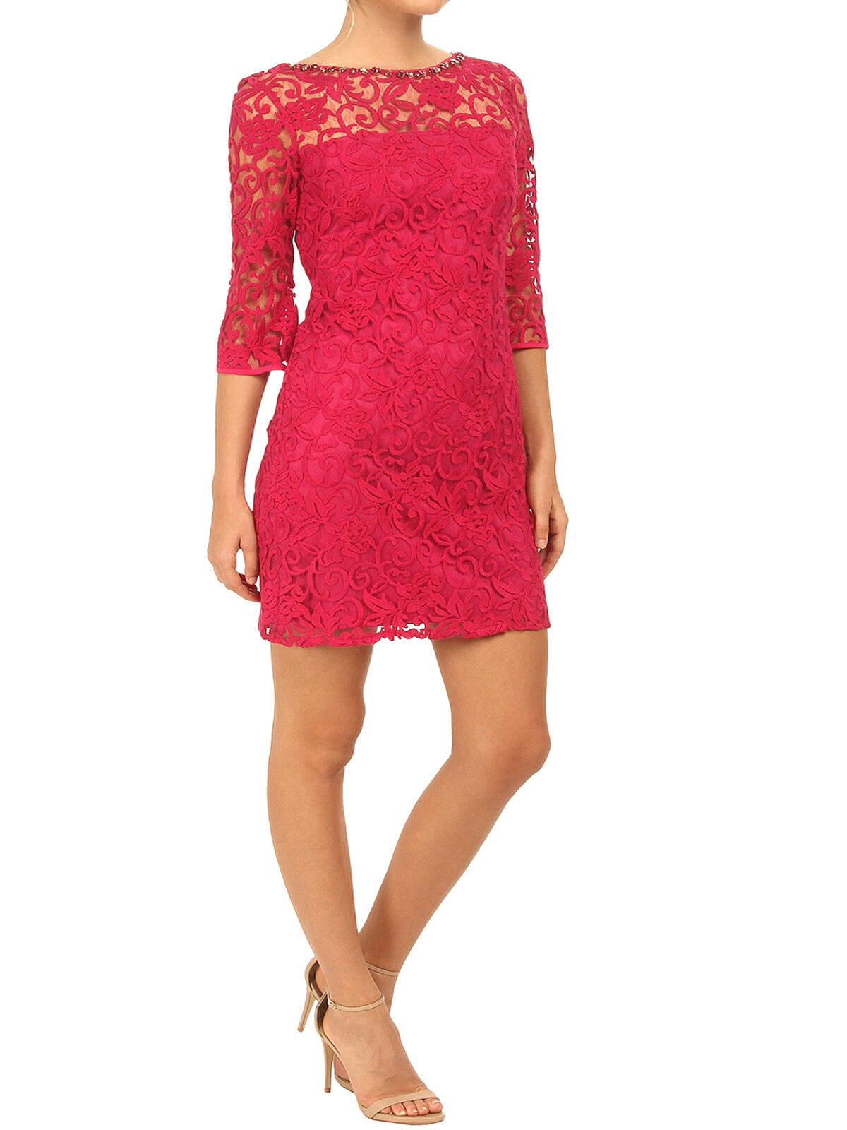 Adrianna Papell Pinky Red Lace Shift Dress with 3 4 Sleeves Orig Price