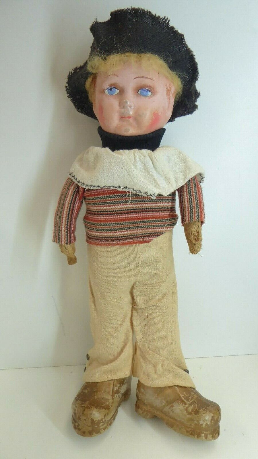 ANTIQUE ANTIQUE STRAW FILLED LINEN BODY    PAPIER MACHE HEAD CELLULOID Stiefel 75e5d5