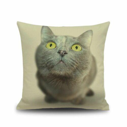 Animal Cat Throw Pillow Case Home Car Decor Art Retro Linen Sofa Cushion Cover
