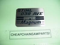 Stihl 038 Magnum Chainsaw Name Tag ----------- Box1119