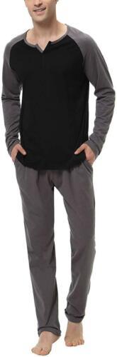 Aiboria Men/'S Pajamas Set Cotton Long Sleeve Top And Pants Soft Sleepwear Lounge