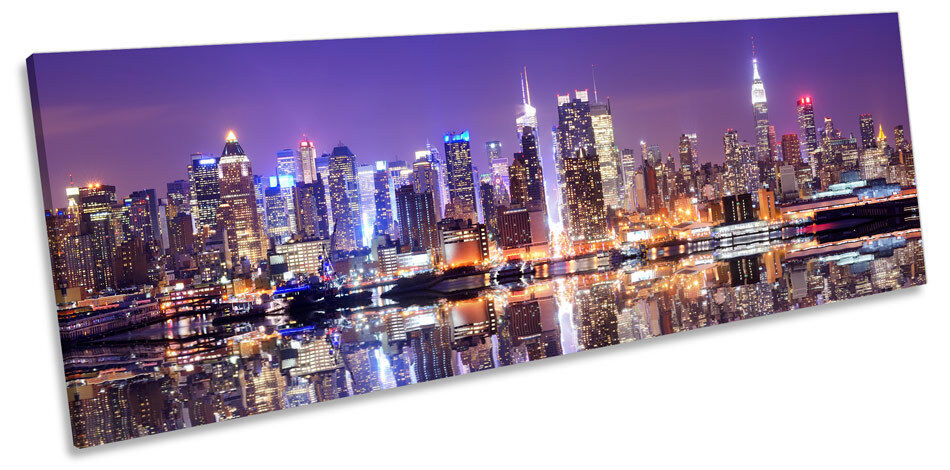 New York City Skyline lila lila lila CANVAS WALL ART Panoramic Framed Print 91ecf8