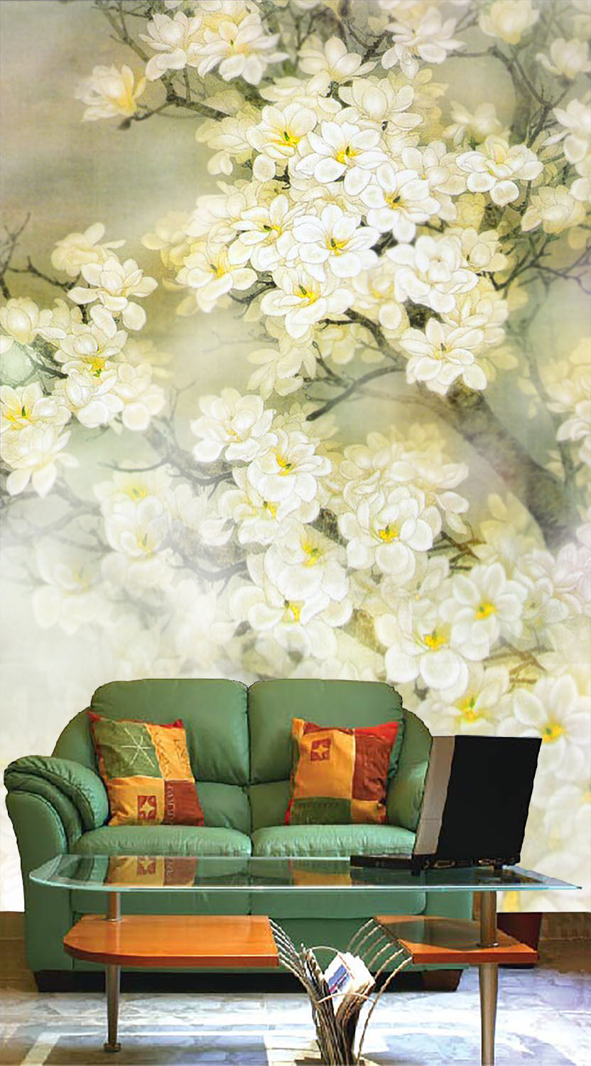 3D Painted Weiß Flowers Paper Wall Print Wall Decal Wall Deco Indoor Murals