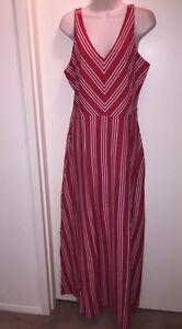 LC-LAUREN-CONRAD-Women-039-s-Chevron-Striped-Maxi-Dress-034-AMERICAN-BEAUTY-034-Size-M-NWT