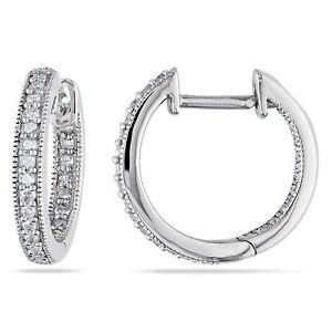 Amour 14k White Gold 1/4 Ct TDW Diamond Hoop Earrings H-I I1-I2