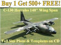 Hercules C-130 140 Giant Scale Rc Airplane Plans & Templates On Cd