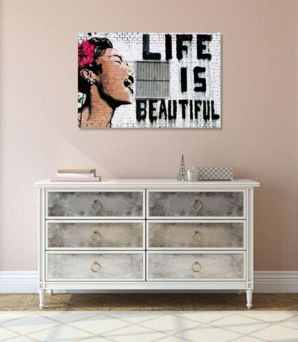 BANKSY LIFE IS BEAUTIFUL CANVAS ART PRINT ARTWORK STREET XL OPTION
