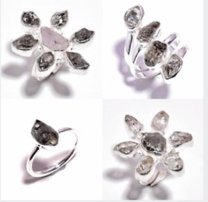 Natural Raw Herkimer Diamond Gemstone Jewelry RSR27 925 Sterling Silver Ring