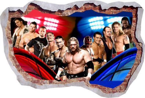 Jhon Cena Wrestling Batista 3D Effect Smashed Wall View Sticker Poster Vinyl 618