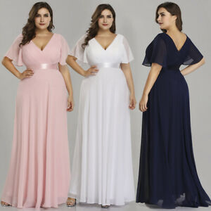 Ever-Pretty Short Sleeve V-Neck Evening Gown White Long Bridesmaid Dresses 09890