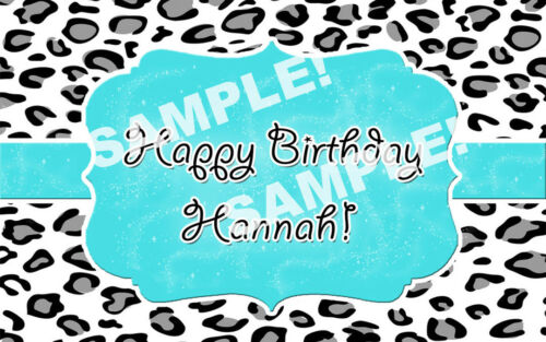 Teal LEOPARD PRINT Edible Cake Image Frosting Sheet Topper PERSONALIZED!
