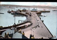 SOUTHAMPTON (U-K) BATEAUX & TRAIN , ROYAL PIER animé début 1900