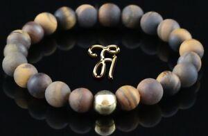 Tigerauge-matt-925er-sterling-Silber-vergoldet-Armband-Bracelet-Perlenarmband