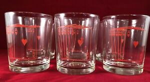 Vintage-Set-Of-Six-Poker-Glasses-MCM-Low-Ball-Red-Hearts-Royal-Flush
