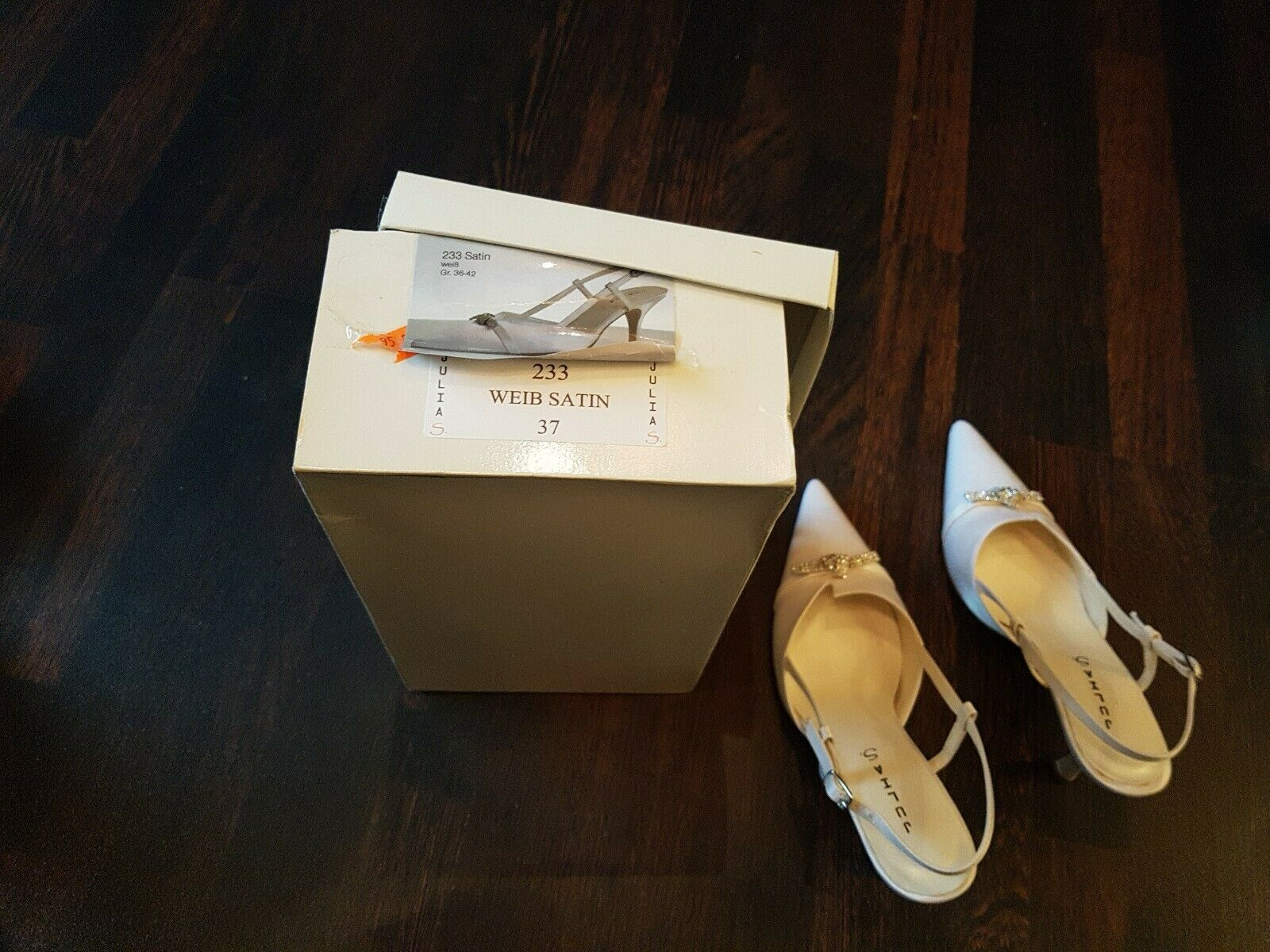 Bridal shoes Size 37 White Lady Julia S NEW Strappy 6,5 cm Heel Height Satin