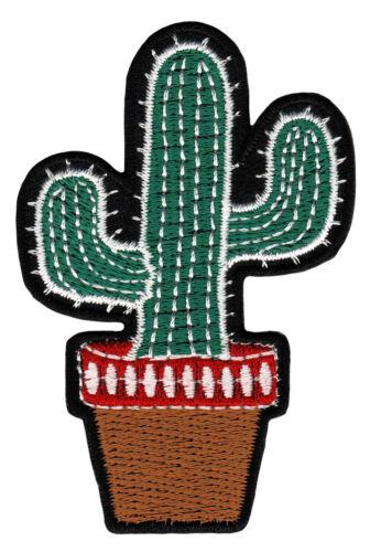 au68 Kaktus Pflanze Topf Mexiko Aufnäher Bügelbild Applikation 5,3 x 7,9 cm