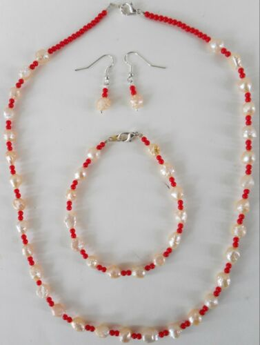 "Navajo Indian Pearl /& red beads 20½ inch necklace 8¾ inch bracelet /& ¾/"" Earrings"