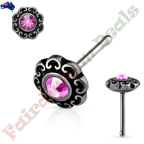 Surgical Steel Antique Silver Nose Stud with Pink Gem Tribal Heart Filigree Top