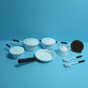 Dollhouse-Miniature-Kitchen-Cookware-Set-in-White-10-Metal-Pieces-G6103