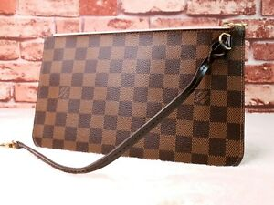 Authentic-Louis-Vuitton-Damier-Ebene-Neverfull-Pouch-Clutch-with-Pink-Interior