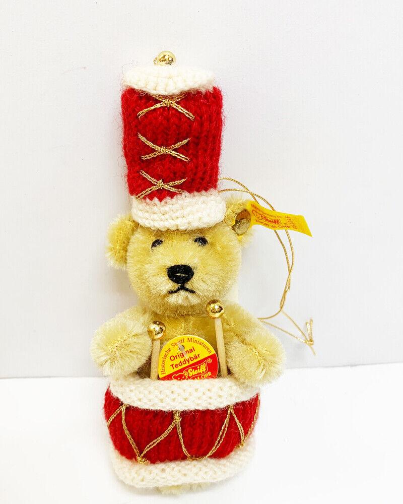 MIB Steiff Mohair Blonde Red Drummer Bear Christmas Tree Holiday Ornament 665066
