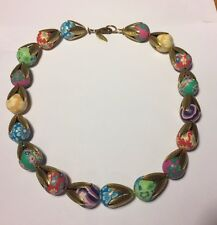 Lenora Dame Classic Nostalgic Floral Strand Clay Bead Necklace B207