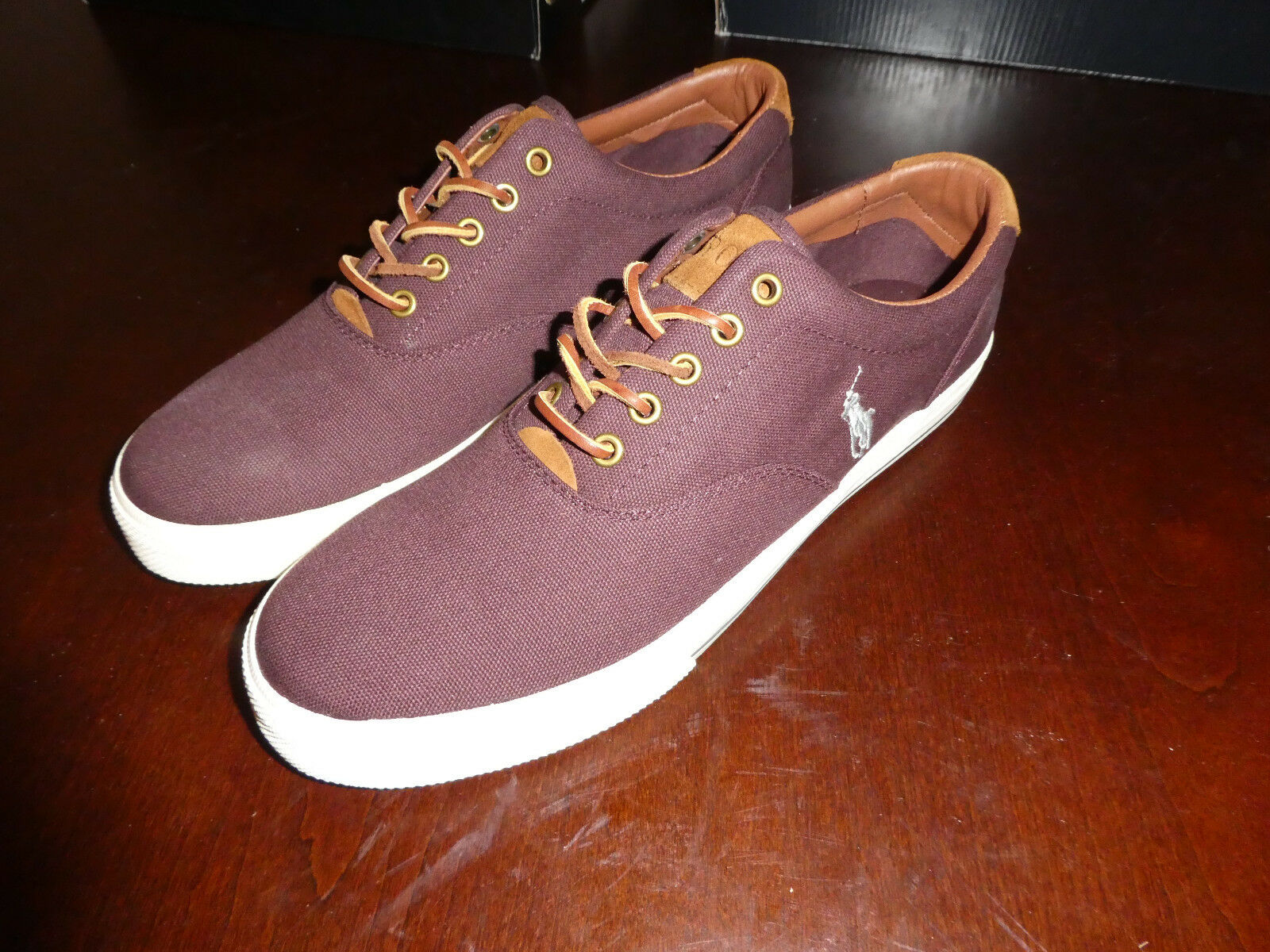 Polo Ralph Lauren Vaughn Low SK VLC red wine mens shoes boat new