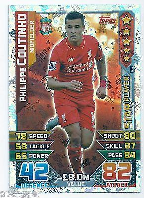 Match Attax 2015-2016 Philippe Coutinho Liverpool jugador estrella Nº 139